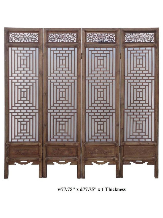 Vintage Chinese Two-Sided Four Season Motif Wooden Room Divider - This vintage room divider is made of solid elm wood and two-sided finished with four season motif carving. Wooden room divider is commonly used in Asia as living room decoration and Feng Shui purpose.