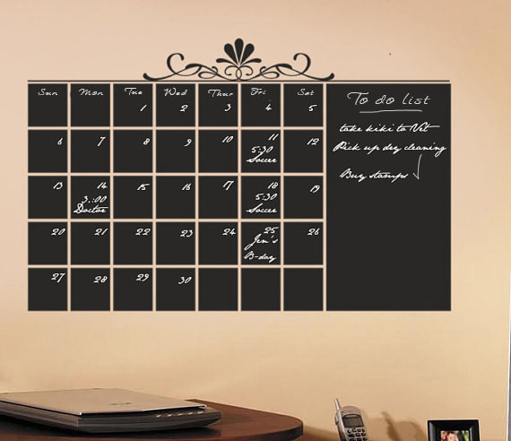 chalkboard calendar wall decal by household words modern white monthly dry erase calender wall sticker