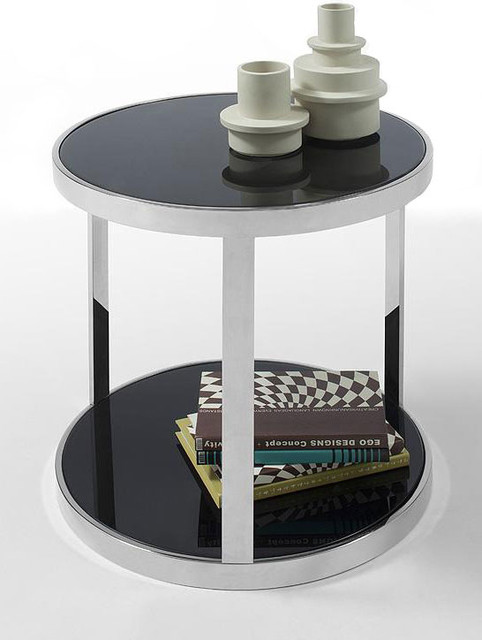 contemporary black round glass top end table mago