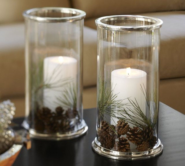 Silver Rim Glass Hurricane contemporary-candles-and-candle-holders