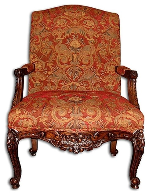 New Accent Tall Back Chair Red Rococo Fabric traditional-dining-chairs