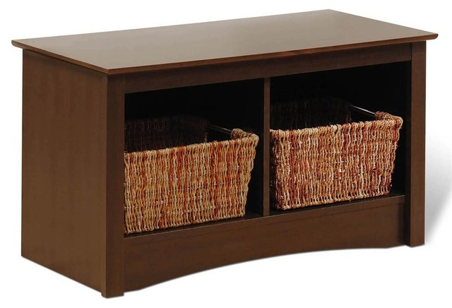 Entryway Storage Bench W 2 Cubbies In Espress Contemporary Accent And Storage Benches By