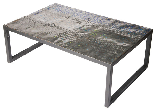 Large Metal Recycled Oil Drum Coffee Table