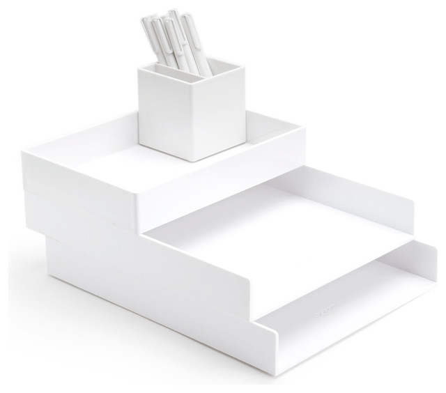 Desktop set white modern desk accessories - Desk organizer white ...
