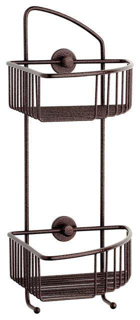 Corner Shower Caddy - no drilling required - 100% Rustproof, Atlas Bronze contemporary-shower-caddies