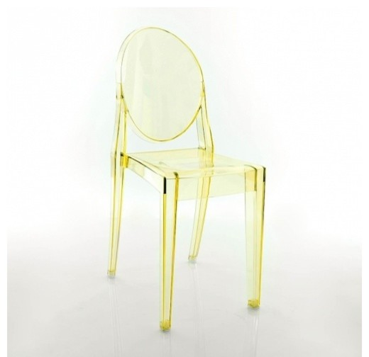 Victoria ghost chair set of 2 transparent yellow for Modern yellow dining chairs