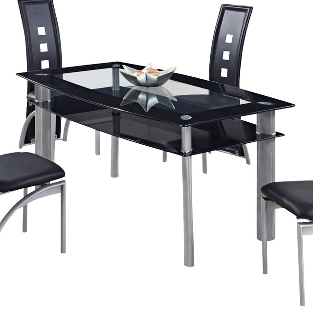 Global Furniture USA 1058DT Rectangular Black Glass Dining Table with Metal Legs - Traditional ...