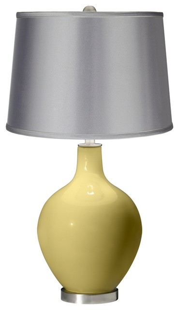 Butter Up - Satin Light Gray Shade Ovo Table Lamp contemporary-table-lamps