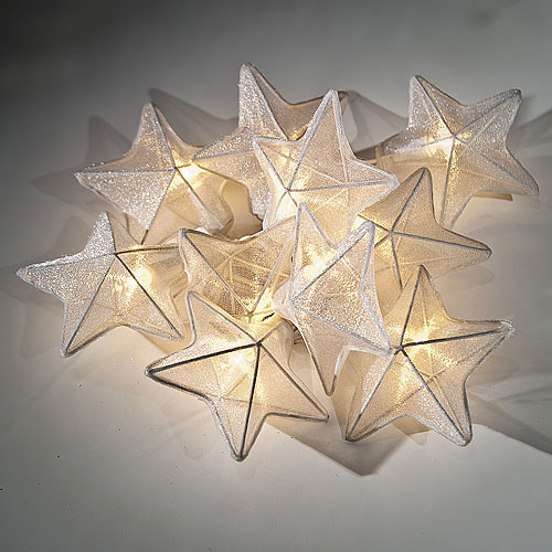 White Organza Star String Lights - Contemporary - Outdoor Rope And String Lights - by Luna Bazaar