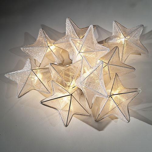 Star String Lights Outdoor : White Organza Star String Lights - Contemporary - Outdoor Rope And String Lights - by Luna Bazaar