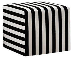 Black and White Canopy Stripe Upholstered Cube Ottoman modern ottomans and cubes