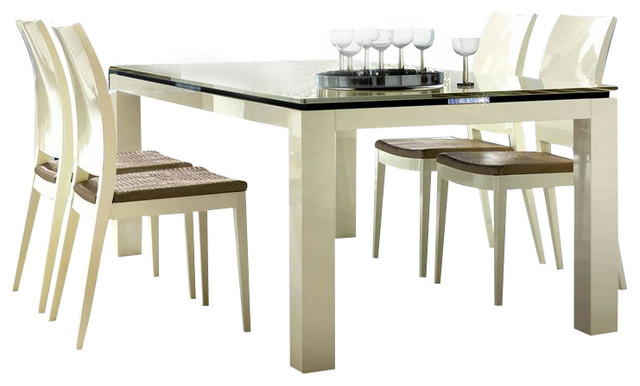 Rossetto Diamond 5 Piece Rectangular Dining Table Set in Ivory transitional-dining-sets