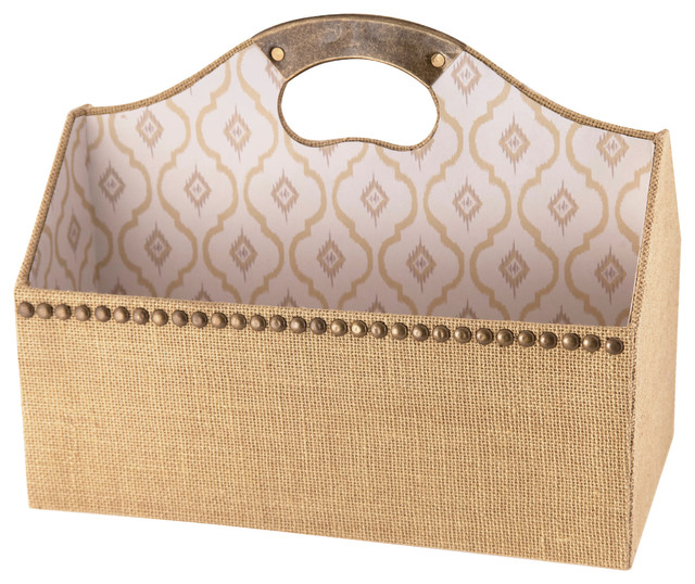 Raymond Waites Burlap File Tote - Traditional - Desk Accessories - by Lightaccents