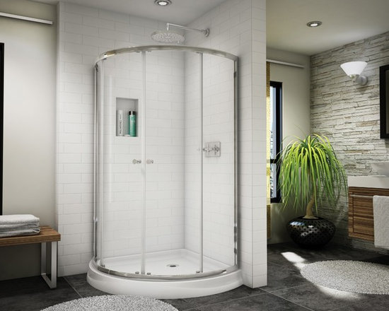 "Fleurco Banyo Amalfi Arc 4 32"" x 32"" Frameless Shower Enclosure EAX324 - Deluxe anti-jump smooth rolling system"
