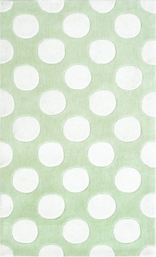 Polkamania Green/White Poly Acrylic Hook Rug contemporary-rugs