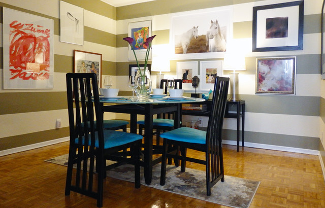 Contemporary Dining In Green And Blue Transitional