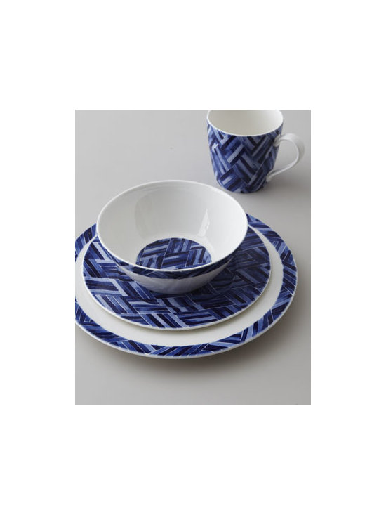 "Lauren Ralph Lauren - Lauren Ralph Lauren Four-Piece ""Somerset Island Woven"" Dinnerware Place Setting - An intriguing woven design in cobalt blue against bright white adds dimension to this dinnerware. Use it alone or mix and match with ""Somerset Island"" floral dinnerware. The possibilities are endless. Made of porcelain. Dishwasher and microwave safe....."