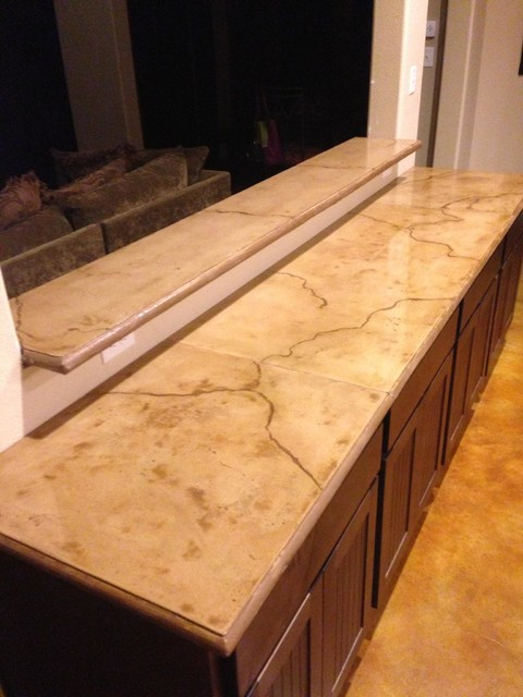 Stained Concrete Countertops : Colored and stained concrete countertop rustic houston