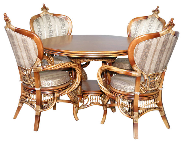 Beach Style Dining Sets: 5 Pc Rattan Louis XVI Table W/ 4 Arm Chairs Dining Set