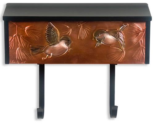 Chickadees Locking Wall-Mount Copper Mailbox with Newspaper Holder - Contemporary - Mailboxes ...