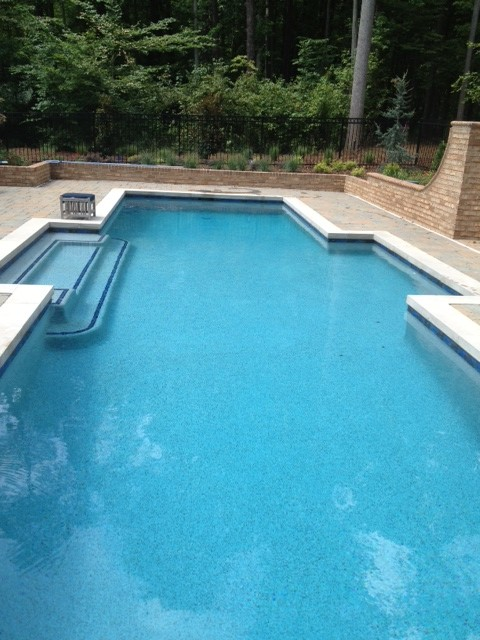 Beautiful Blue Lagoon Pebble Tec Pool Finish Raleigh