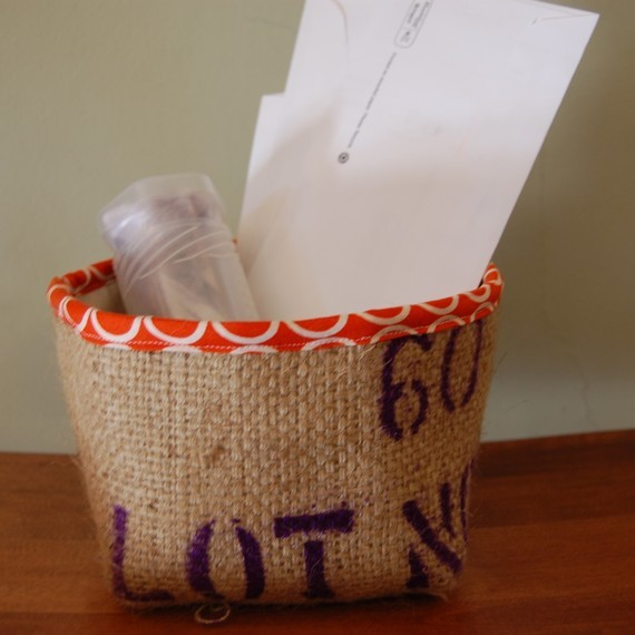 Mini Burlap Storage Bucket by Bubbles and Boo contemporary baskets