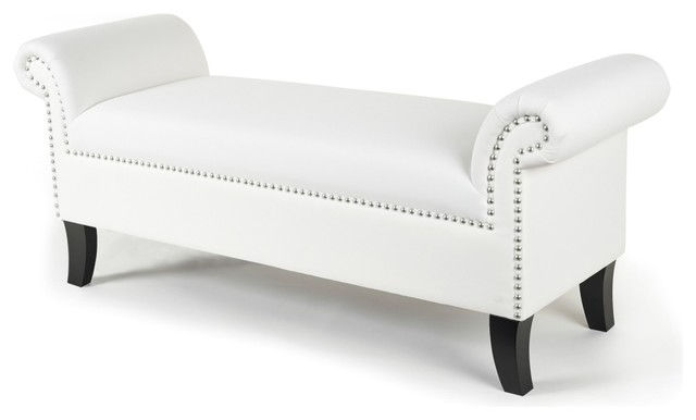 White Gothic Roll Arm Bench Contemporary Indoor Benches By