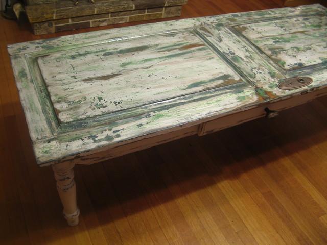 Custom rustic furniture rustic coffee tables boston for Rustic door coffee table