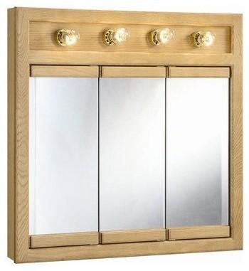"""Richland Nutmeg Oak 4-Light Tri-View Wall Cabinet, 30"""" by 30"""" modern-bathroom-storage"""