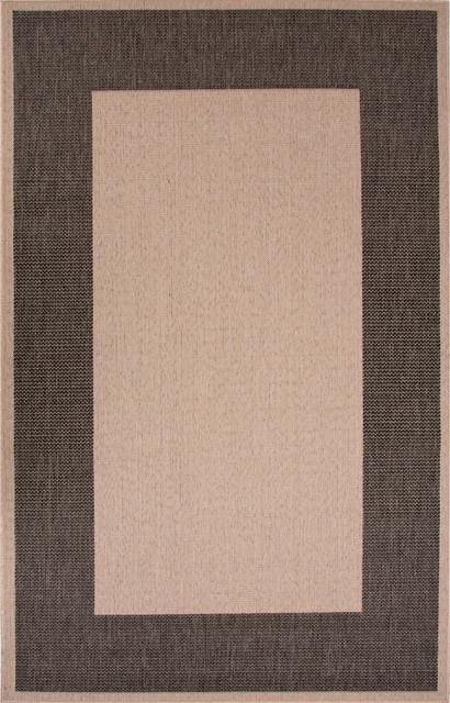 Jaipur outdoor boarder pattern polypropylene ivory black for Garden room 2x3