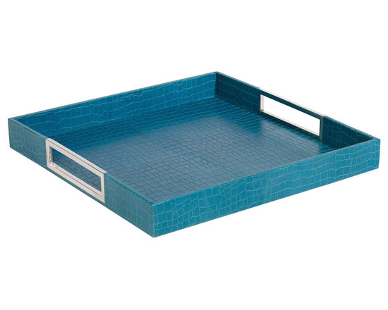 Ethan Allen - Square Turquoise Leather Tray - Tray chic! Finished in crocodile-embossed leather and brilliant polished nickel hardware, this tray serves up a sleek, stylish look anywhere you need it. Also available in black (439517).