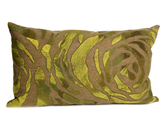 """Trans-Ocean Outdoor Pillows - Trans-Ocean Liora Manne Rose Green - 12"""" x 20"""" - Designer Liora Manne's newest line of toss pillows are made using a unique, patented Lamontage process combining handmade artistry with high tech processing. The 100% polyester microfibers are intricately structured by hand and then mechanically interlocked by needle-punching to create non-woven textiles that resemble felt. The 100% polyester microfiber results in an extra-soft hand with unsurpassed durability."""