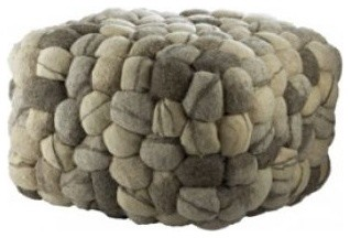 River Stone Boiled Wool Stool eclectic ottomans and cubes