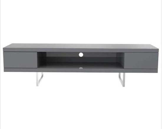 Eurostyle Miranda Media Stand in Gray Lacquer/Chrome - The Miranda Media Stand is a great way to simplify these home theater set ups that are so fabulous to enjoy until you have to deal with the wires. The low profile design makes it easy to get the height just right and two big drawers offer plenty of storage.