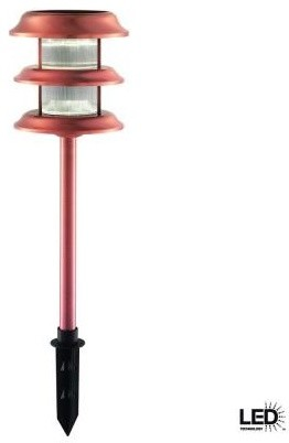Hampton Bay Outdoor Lighting. Ground-Stake Outdoor Copper 3-Tier Solar LED Light - Contemporary ...