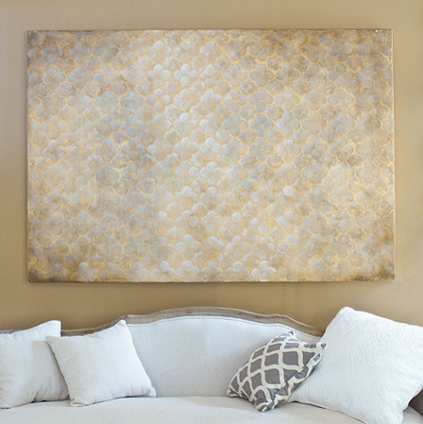 Gilded Quatrefoil Hand Painted Canvas traditional-artwork