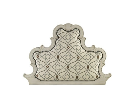 Amy Queen Headboard by John Richard - The Amy headboard features patterned upholstery surrounded by carved wood in a Glazed White finish, creating an eclectic twist to a traditional classic.