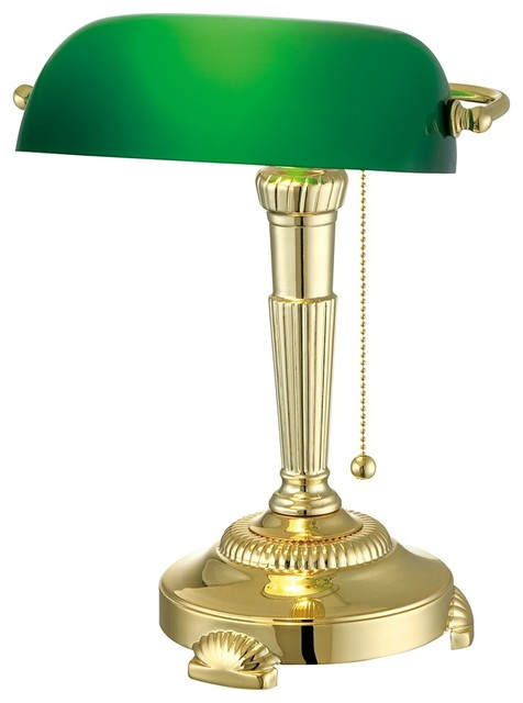 traditional green glass shade bankers lamp traditional. Black Bedroom Furniture Sets. Home Design Ideas
