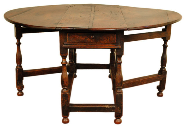 A large george ii period turned oak two drawer gateleg table - Gateleg table with drawers ...