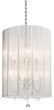 Clarita Nickel and White Chandelier eclectic chandeliers