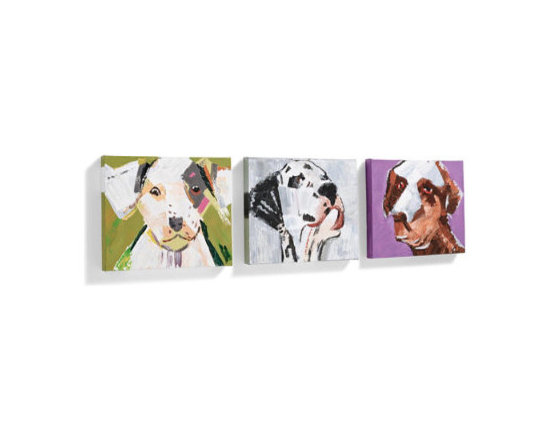 """Grandin Road - Set of Three """"Three Amigos"""" Wall Art - Hand-painted designer dog portraits, sold in a set of three. Gallery-wrapped canvas over a wood frame. Dimensional, textured finish, as each is an individual work of art. Due to the handcrafted nature, no two will be exactly alike. Arrive ready to hang with a wire hanger. Hang the expressive, colorful """"Three Amigos"""" on the wall of your entryway, hall or any room you like –this playful pack is sure to brighten up your space, and all three come together. Each is individually hand painted with wonderful dimension and texture, and, like your favorite tail-wagger, no two are exactly identical. Line them up together for big impact, or split them up and display them about the house.  .  .  .  .  . Clean with a soft, dry cloth; avoid polishes, abrasives and chemicals, as they may damage the finish ."""