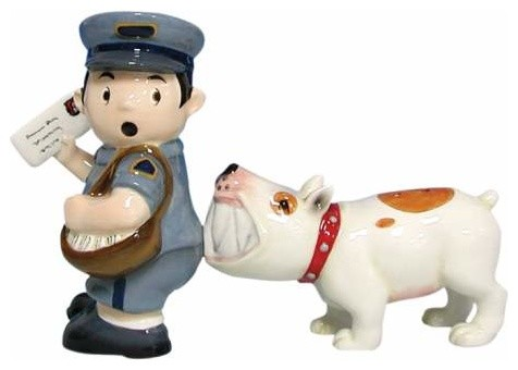 3.75 Inch Brown and White Dog Biting Mailman Salt and Pepper Shakers eclectic-salt-and-pepper-shakers-and-mills
