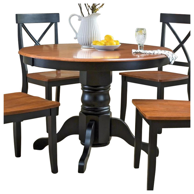 Houzz Dining Table: Home Styles Round Pedestal Casual Dining Table In Black