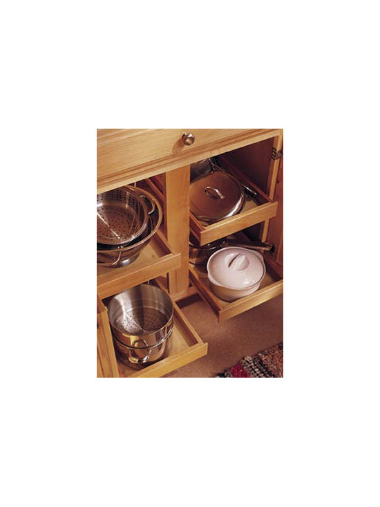 Base Roll-Out Trays - Rollout trays allow easy access to items without having to get on your hands and knees to reach the back of base cabinets.