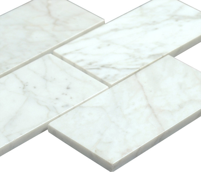 Bianco Carrara 3x6 Polished Marble Subway Tile traditional-tile