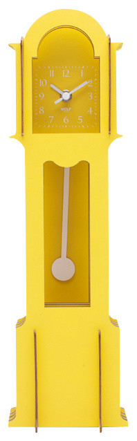 Wooden Jigsaw Mini Grandfather Clock, Yellow - Modern - Desk And Mantel Clocks - by WOLF