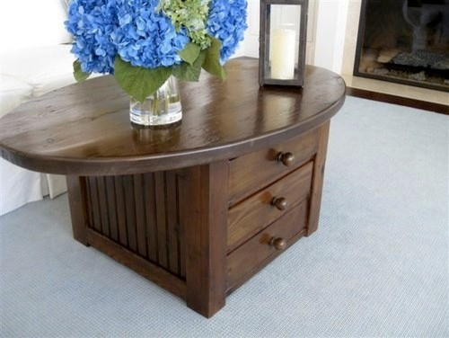 Oval coffee table with drawers farmhouse coffee tables for Oval farmhouse coffee table