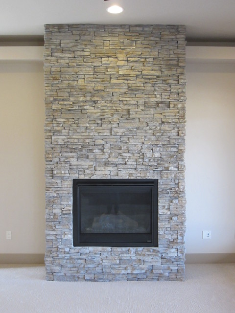 Dry Stacked Stone Fireplace Home Products on Houzz
