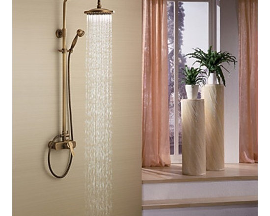 Shower Faucets - Antique Brass Tub Shower Faucet with 8 inch Shower Head & Hand Shower--FaucetSuperDeal.com