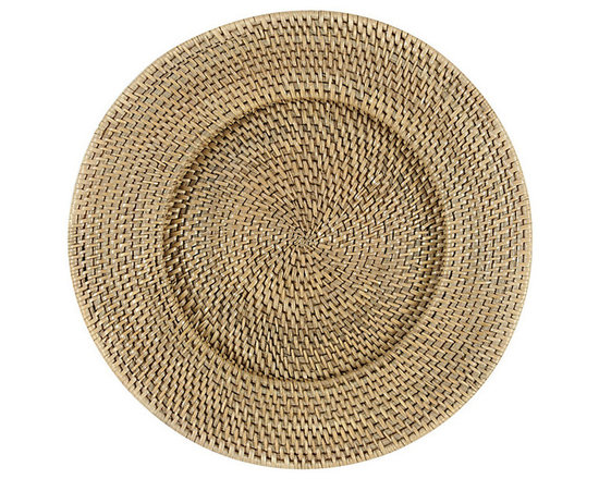 Ballard Designs - Set of 4 Piper Woven Chargers - Coordinates with our Piper Woven Napkin Rings & Placemats. Holds a standard dinner plate. Use all year-round. Our Piper Woven Chargers are an easy, affordable way to layer in rich texture and color on your table. Hand woven of strong natural rattan with Washed Taupe finish.Woven Rattan Placemat features: . . .